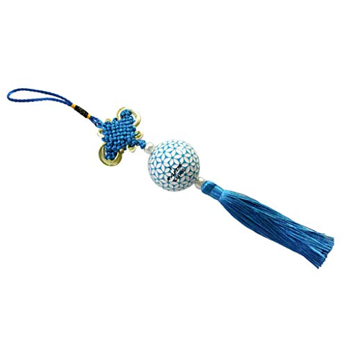 Knot Pendant Tassels Hanging Ornament Decor for Home Office Car Decor Sakura | Color - Blue