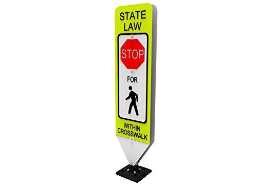 Pedestrian Crosswalk Sign - Impact Traffic - in-Street Pedestrian Crosswalk Sign, Stop, with Fixed Base - Industry Best Performer