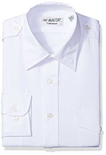 Van Heusen Men's Pilot Dress Shirt Long Aviator, White, 17.5