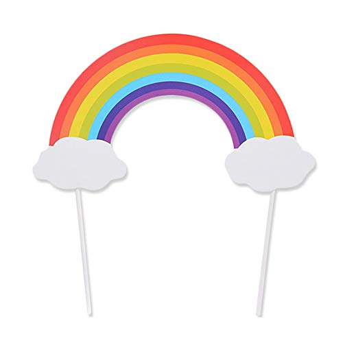 Flairs New York Happy Birthday Decorations Cake Toppers Party Props (Pack of 1 Cake Topper, Rainbow and Clouds)
