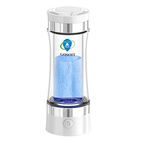 GOSOIT Hydrogen Alkaline Water Bottle Maker Machine Hydrogen Water Generator Ionizer with SPE and PEM Technology,US Membrane Make Hydrogen Content up to 800-1200 PPM and PH of 7.5-9.0 (White) (The Best Water Ionizer)