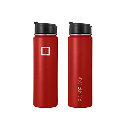 Iron Flask Sports Water Bottle - 14oz,18oz,22oz,32oz,40oz,64oz,3 Lids (Straw Lid),Vacuum Insulated Stainless Steel, Modern Double Walled, Simple Thermo Mug, Hydro Metal Canteen (22 Oz, Fire Red)