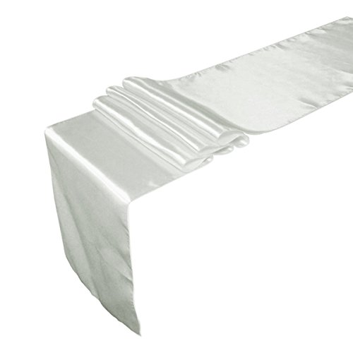 Ling's moment 12 x 108 Inch Satin Silver Table Runner, Pack