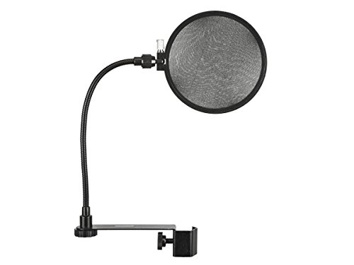 Monoprice Vocal Performance Dual Screen Microphone Pop Filter - Black With Double Semi Transparent  Nylon Screens And Goose Neck Flexible C Clamp by Monoprice
