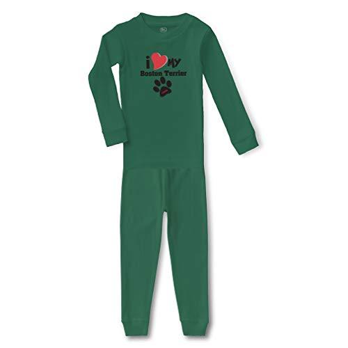 Personalized Custom I Love My Boston Terrier Cotton Crewneck Boys-Girls Infant Long Sleeve Sleepwear Pajama 2 Pcs Set - Kelly Green, 18 Months -