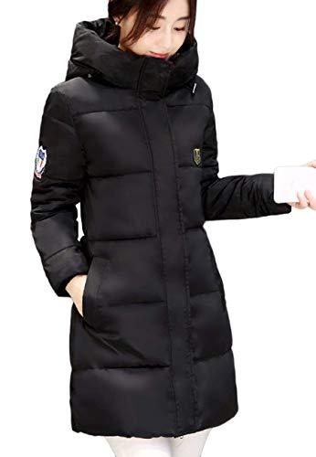 Parka Mujer Outdoor Abrigos Cómodo Encapuchado Acolchado Manga Casual Invierno Abrigo Fit Termica Transición Pluma Largo Largos Áspera Schwarz Modernas Parche zqx5zcwRnr