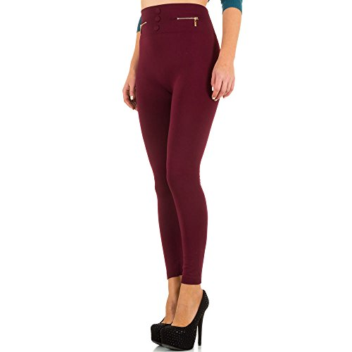 Damen Leggings, WARM GEFÜTTERTE HIGH WAIST ZIPPER, SS-BFPAN0072, Weinrot, ONE SIZE