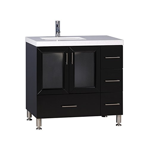 Design Element Westfield White Quartz Top and Espresso Wood 36-inch Single Sink (Westfield Single)