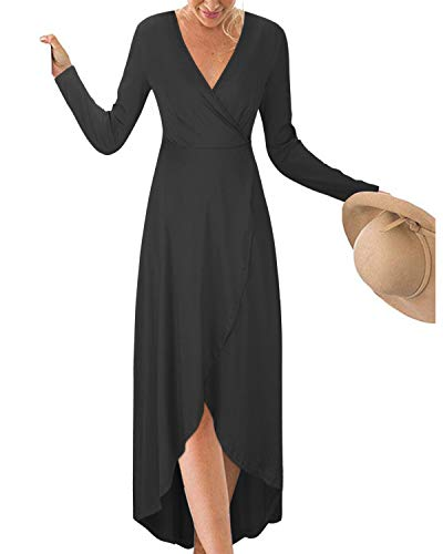 KILIG Womens V Neck Long Sleeve Asymmetrical Casual Maxi Dresses (Black-1, L) ()
