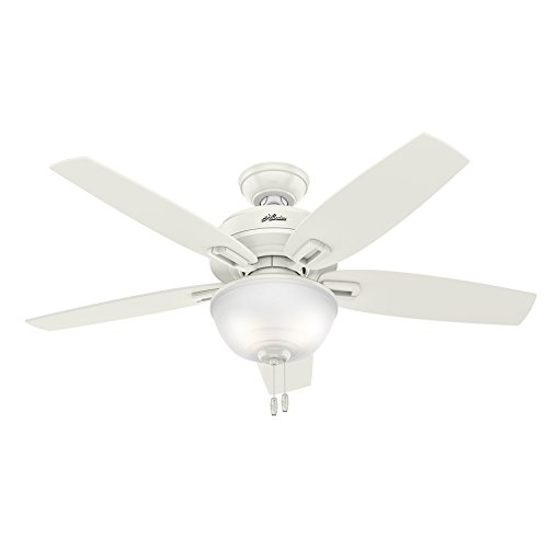 Hunter Wetherby Cove 48-in Fresh White Indoor/Outdoor Downrod Or Close Mount Ceiling Fan with Light Kit