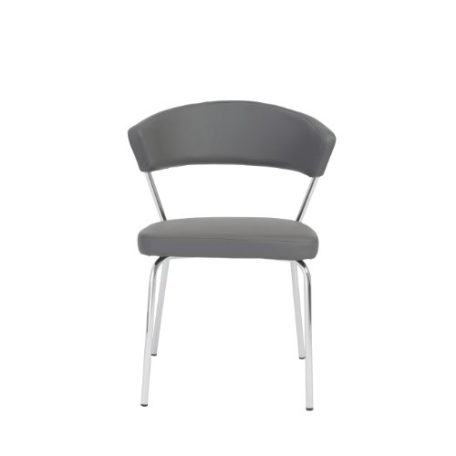 Euro Style Draco Soft Leatherette Side Chair, Gray with Chrome, Set of (Euro Metal Chair)