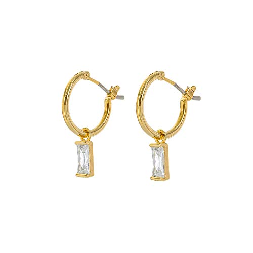 Square Gold Charm - Columbus 14K Gold Dipped Huggie Hoop Earrings - CZ Baguette Charms (Gold Baguette Charm)