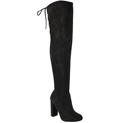 Fashion Thirsty Womens Thigh High Boots Over The Knee Party Stretch Block Mid Heel Size 7