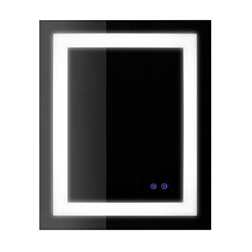 CO-Z Anti-Fog Wall Mounted Rectangle Backlit LED Lighted Bathroom Mirror with Defogger -
