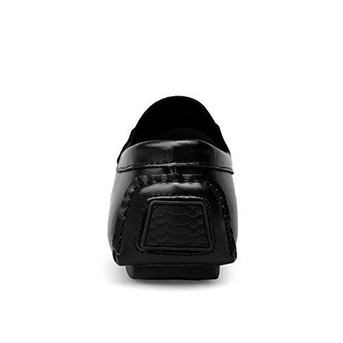 Slip 42 Para Cuero De Planos Tamaño Conducción Náuticos color Genuino Marrón on Zapatos Negro Eu 2018 Hongjun Hombre shoes Mocasines qnwSTTIg