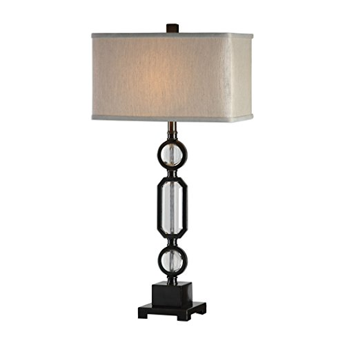 Antique Style Stacked Crystal Oraments Table Lamp | Column Bronze Faceted Jewel