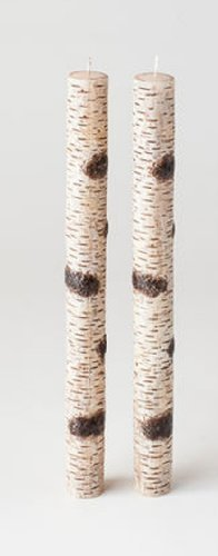 Set of 2 - Birch Bark Taper Candles