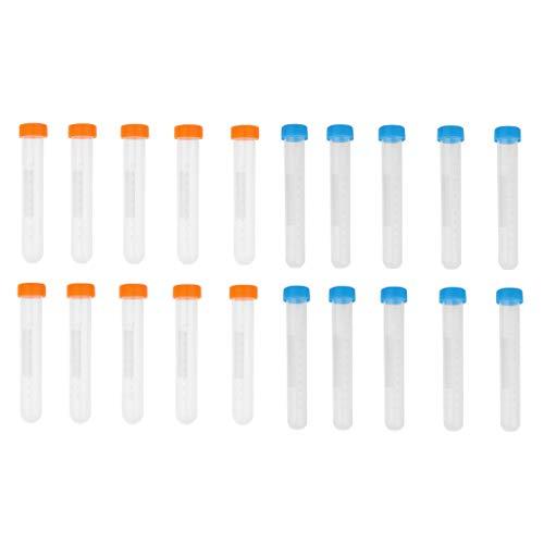 B Baosity 20pcs Zentrifugenröhrchen aus Kunststoff mit Schraubverschluss, 10 ml und 15ml