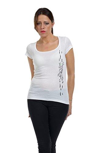 diosa Top bosque manga Negro 3elfen Blanco con Camiseta con de de cuello corta Moda verano Mujer del redondo 4ORZPqw