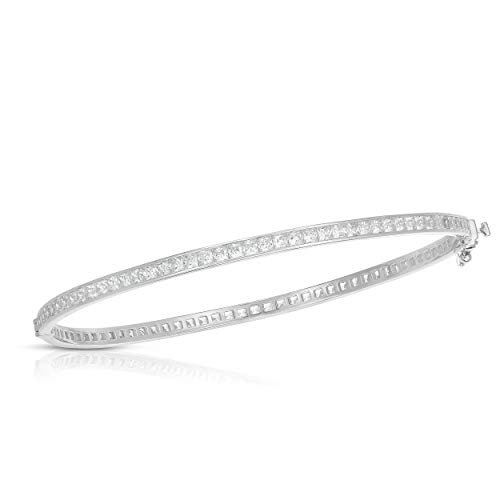 Unique Royal Jewelry All Solid 925 Sterling Silver and Princess-Cut Cubic Zirconia Designer Tennis Bangle Bracelet (Rhodium-Plated Sterling Silver)