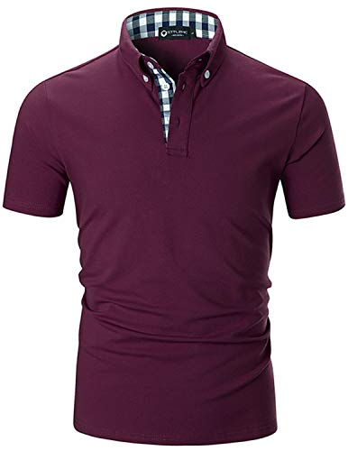 STTLZMC Men's Short Sleeve Polo Shirts Casual Fit Golf Solid Color Tops (XXX-Large, Wine Red)