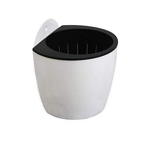 Fangfang Self Watering Planter Hanging Flower Plant Pot Plastic Wall Mounted Flower Pot with Removable Basket and Rope Cotton for Indoor/Outdoor Plants - 1 Pack (Large)