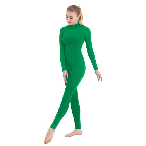 SUPRNOWA Unisex Turtleneck Footless Lycra Spandex Long Sleeve Unitard (X-Large, Green)]()