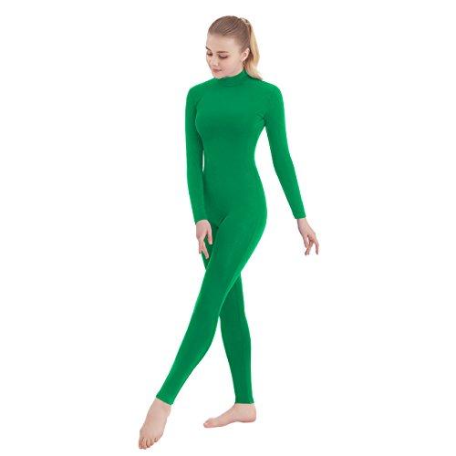 SUPRNOWA Unisex Turtleneck Footless Lycra Spandex Long Sleeve Unitard (X-Large, Green) ()