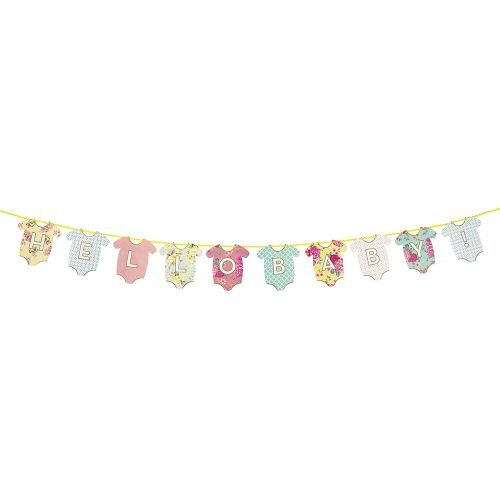 Talking Tables Truly Baby Hanging Bunting Banner in Shape of Baby Clothes for a Baby Shower, Multicolor -