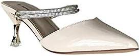 KNlang 先の頭Baotouの女性の靴女性のラインストーンベルトのスティレットシューズのラインストーンハイヒールのスリッパ (色 : Rice White, サイズ : 37)