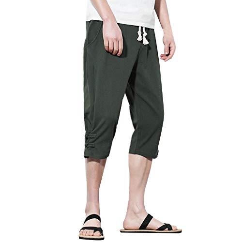 Men's 3/4 Workout Joggers Capri Pants Running Training Side Pockets Button Linen Loose Calf-Length Pants Green