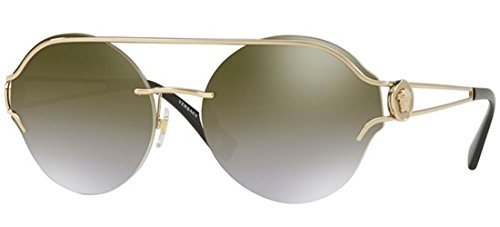Versace Women's Manifesto Round Sunglasses, Pale Gold/Brown Gold, One ()