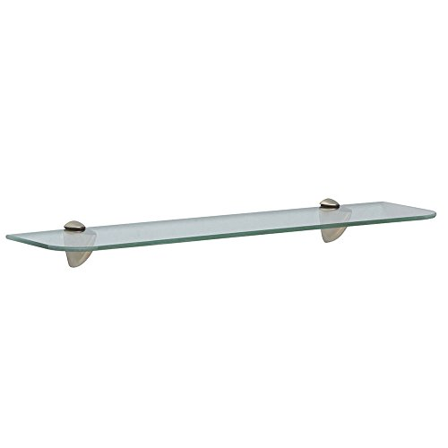 Shelf-Made KT-0134-624SN Glass Shelf Kit, Satin Nickel, 6-Inch by 24-Inch - Nickel Look Accents