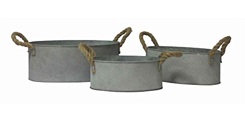Galvanized Metal Bucket with Rope Handle - Set of 3
