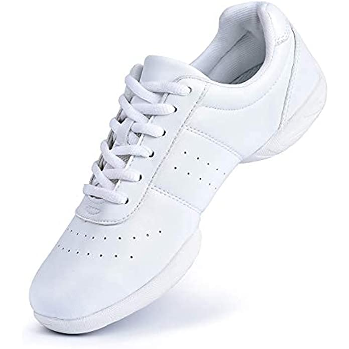 Smapavic Cheer Shoes Women White Cheerleading Dance Shoes Fashion Sneakers Tennis Athletic Sport Training Shoes