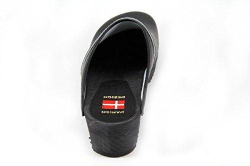 Danish design-sabots noir avec semelle noir