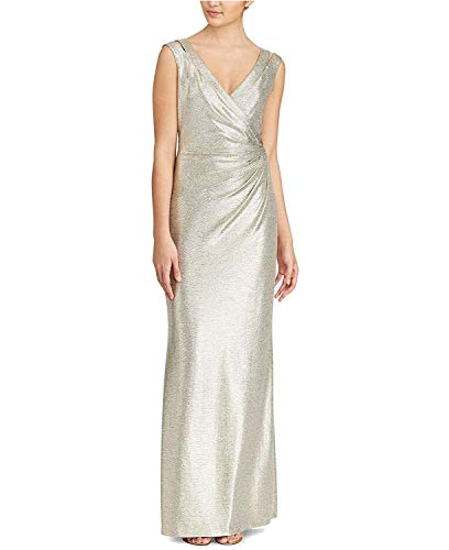 Ralph Lauren Sundress - LAUREN RALPH LAUREN Womens Metallic Special Occasion Evening Dress Gold 8