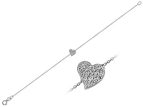 Birgie Diamants et Bijoux - Bracelet Coeur de Diamants-Femme- or Blanc 201B0018