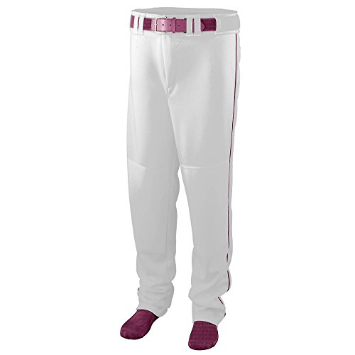 Youth Series Baseball/Softball Pant with Piping - WHITE and MAROON - LARGE by Augusta Sportswear