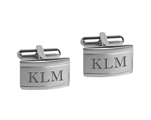 Personalized Two Tone Stainless Steel Cufflinks Engraved Free ()