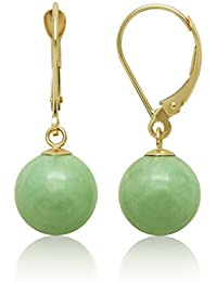 14k Yellow Gold Natural Green Jade Lever Back Drop Dangle Earrings