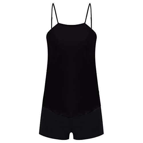 CIZITZZ Women's 2 Piece Swimsuits High Neck Halter Printed Tankini Sets Tummy Control Bathing Suit,Black,XL