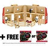 Fold & Go Wooden Barn Farm Blocks 36-piece Play Set + FREE Melissa & Doug Scratch Art Mini-Pad Bundle [37006]