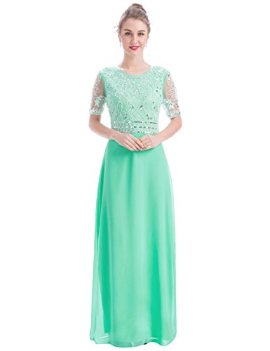 Mint Long (MANER Women Chiffon Beaded Embroidered Sequin Long Gowns Prom Evening Bridesmaid Dress (XL, Mint Green))