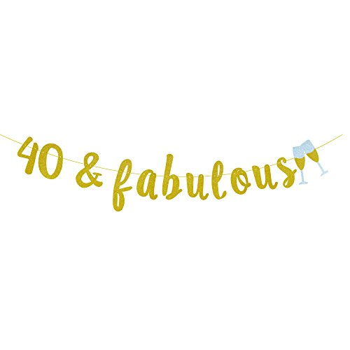 GOER 40 & fabulous and Champagne Glasses Gold Glitter Banner for 40th Birthday Party Decorations
