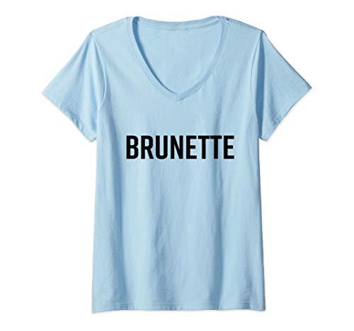 Womens Brunette Shirt Dark Brown Black Hair Blonde Friends Saying V-Neck T-Shirt