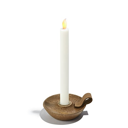 LampLust Taper Candle Holder, Wood Chamberstick with Brass Details and Leather Handle