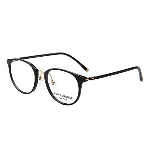 [Jimmy Orange Round Men Women Circle TR Frame Eyeglasses Non-Prescription Clear Lens Eyewear JO518] (Prescription Colored Contact Lenses)