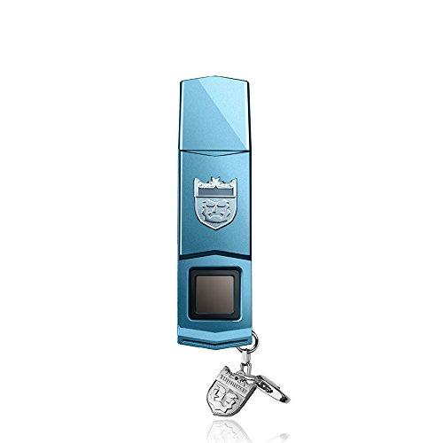 TOPMORE Phecda Fingerprint Recognition USB3.0 Flash Drive Fingerprint ID Security Flash Disk Biometric Fingerprint Reader Memory Stick (White & Black & Blue) (16GB, Blue)