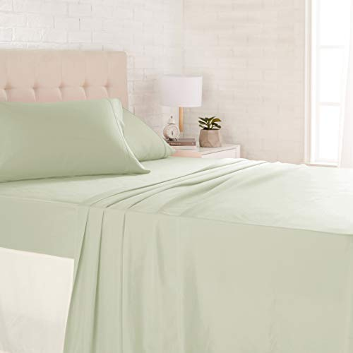 AmazonBasics Microfiber Sheet Set - Queen, Celadon Green